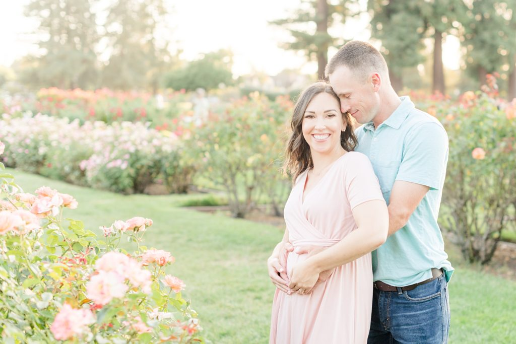 San Jose Rose Garden Pregmnancy Announcement Photoshoot
