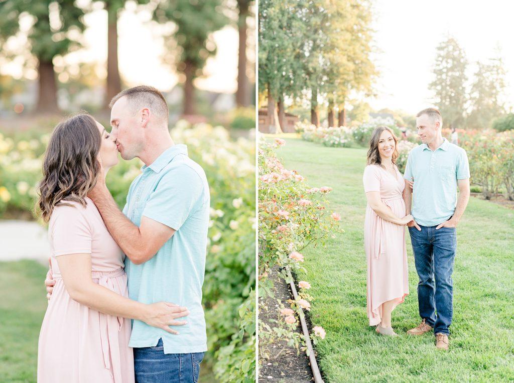 San Jose Rose Garden Pregmnancy Announcement Photoshoot