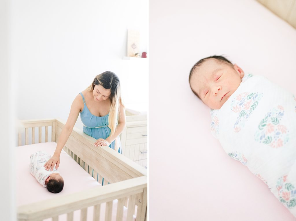 Baby girl lifestyle newborn session in San Jose