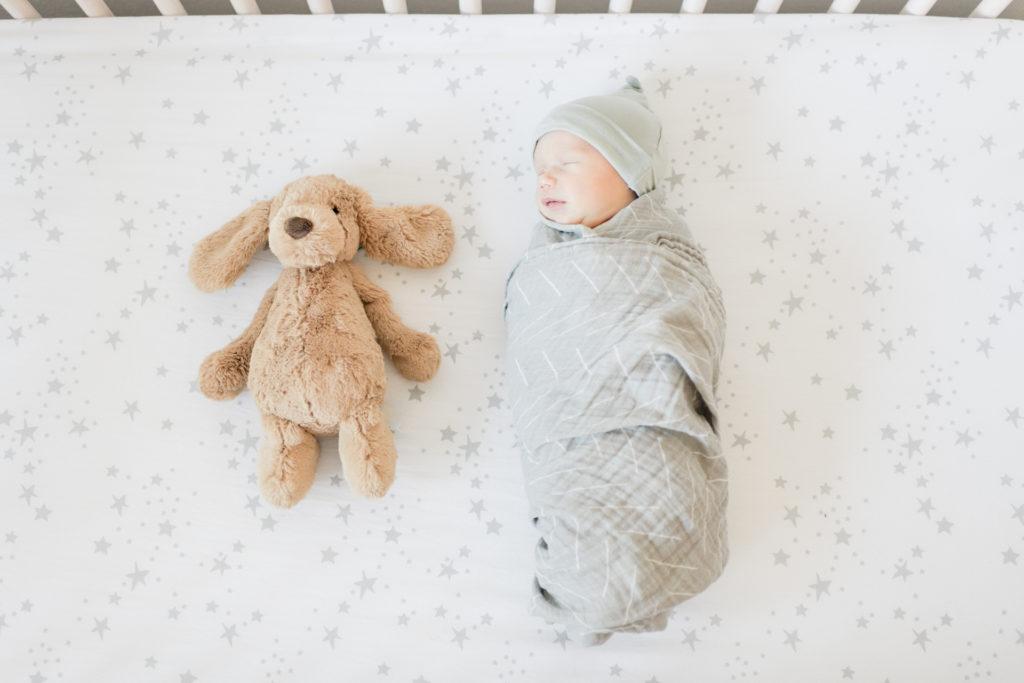 Los Gatos Light and Airy Newborn Photographer in Gender Neutral Nursery