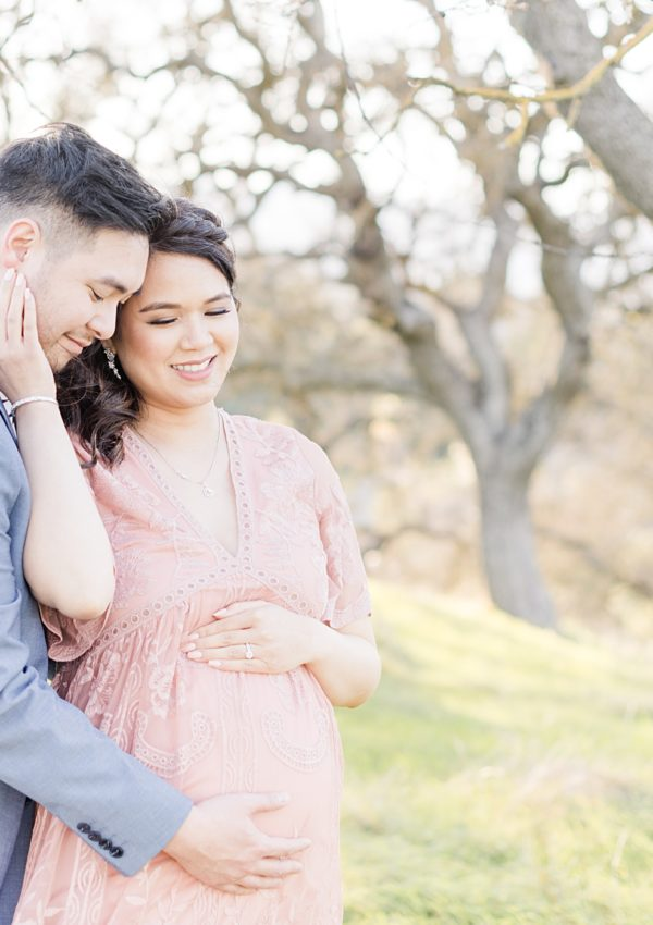 Almaden Maternity Photography Pink Lace Dress