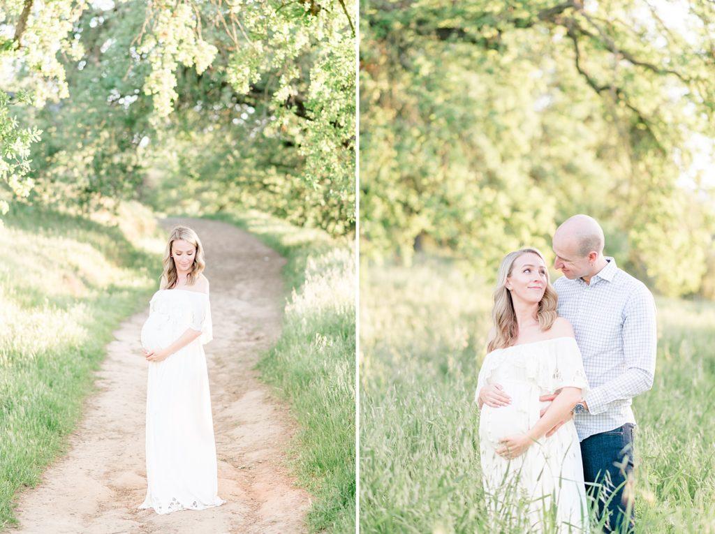 White dress Spring maternity photoshoot